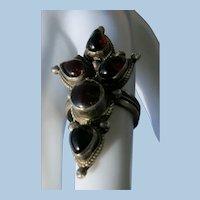 VINTAGE Garnet Cabochon  Sterling Ring Size 7