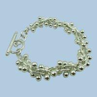 VINTAGE Sterling 7 1/2  Inch Silver Dangling Ball Bracelet
