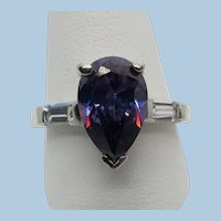 VINTAGE Sterling 925   Simulated  Amethyst Tear Drop Ring Size Tight 9