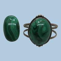 VINTAGE Extra Large Malachite Ring and Matching Bracelet  WOW Effect