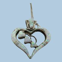 VINTAGE Sterling Man-Made Opal Heart with Sterling 18 Inch Chain