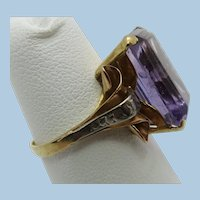 VINTAGE Older 14k Yellow Gold Large Amethyst Ring  Size 7 3/4