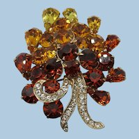 VINTAGE Pretty Rhinestones Bouquet  60's Brooch