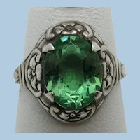 VINTAGE Sterling Green Stone Very  Old Ring Size 5 3/4  Child's