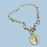 Vintage Starter Sterling Charm Bracelet  with Circle to engrave