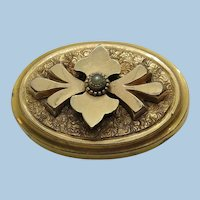 VICTORIAN Gold Filled Collar Brooch with Small Pearl