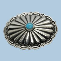 VINTAGE  Sterling  Native American  Concho small  Brooch   1  Inch high X1 1/2 wide