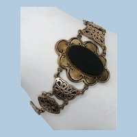 VINTAGE Older Black Set Bracelet 6 1/2 Inch length