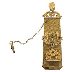 VINTAGE Gold-Filled  Locket Vest Watch Holder With Blank Fob