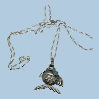 VINTAGE Fish on a Necklace Necklace.  18 Inch Sterling Chain  Quarter size Fish