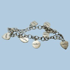 VINTAGE  Fun Bracelet with Mom in 8 different languages  Sterling