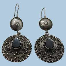 VINTAGE Long Dangling Earring Onyx and Sterling