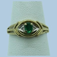 VINTAGE Small Chipped Emerald Ring with 2 Diamonds  Perfect Child's Ring  Size 6