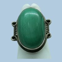 VINTAGE Sterling Malachite Ring  Pretty Green Size 7