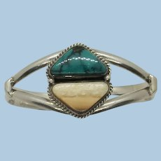 VINTAGE Sturdy Turquoise and Agate Bracelet  Different 27.4g