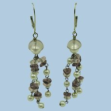VINTAGE Long Sterling Fresh-water Pearls  with Amethyst and Clear Accents  Very Pretty