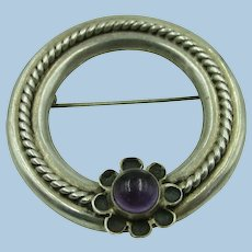 VINTAGE Sterling Classic Circle Brooch with Amethyst Flower