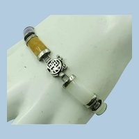 VINTAGE Jade link Bracelet 9 Jade links  7 Inch Length