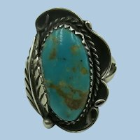 VINTAGE Older Native American Turquoise Ring  Size 7