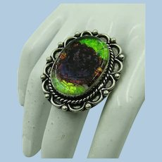 VINTAGE Doric Glass Special Sterling Ring Size 6 1/2  Green and Brown