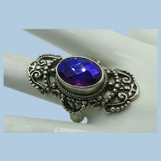 VINTAGE Fancy Silver Work and Simulated Set  Beautiful Ring for Beautiful Hands Size 10
