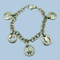 VINTAGE Sterling Stencil Bracelet  5 Lucky Charms