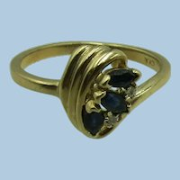 VINTAGE  10k Yellow Gold Three Sapphire and Two Small Diamond Ring  Size 6 1/4