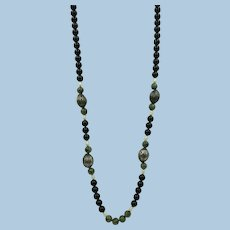 VINTAGE Endless String Necklace  Stunning  28 Inches Onyx, Jade,  Silver Beads, Fresh-water pearls  Beautiful