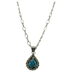 VINTAGE Sterling Open Link 18 Chain With Pretty Turquoise Pendant