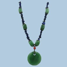 VINTAGE Green Aventurine   and Lapis Necklace and Pendant  Stunning