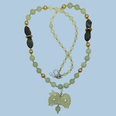 VINTAGE  Lovely  Long Translucent  Celadon Green Jade Beads  with Hand-carved Dragon 28 Inches