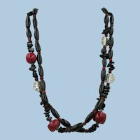 VINTAGE  Classic Necklace with Black Hollow Tubes and Red Bamboo Coral and Coral Beads   20 Inches