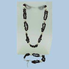 VINTAGE  Older Tumbled Garnet Necklace and Bracelet with Large Fresh-Water Pearls  Set