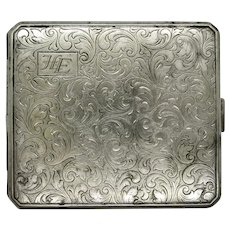 VINTAGE Alpaca Cigarette Case  with Initials HE  Hand tooled  Possible Business Card Case