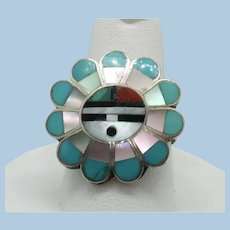 VINTAGE Pretty Zuni Sunface Ring Excellent Work  Size 8 1/2