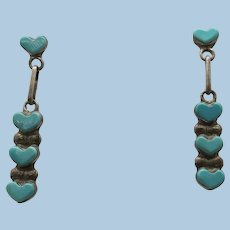 VINTAGE Turquoise Heart Sterling Earrings  Almost 1 1/2 Inch long