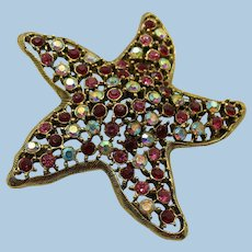 VINTAGE  Colorful   Weiss StarFish Brooch