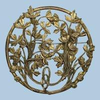VINTAGE 40'S Pretty  2 1/2 Inch Round  Lovely Brass Brooch