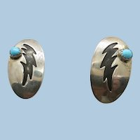 VINTAGE  Hopi Overlay Pierce Sterling Earrings