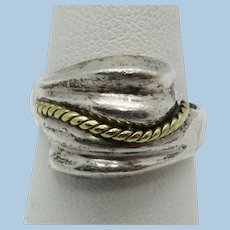 VINTAGE Sterling Ring with Gold Twist  Classic Size 8