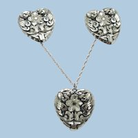 VINTAGE Montana Silversmiths Hand Carved Sterling Heart Necklace and Earrings  17 Inch Sterling Chain