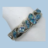 VINTAGE Pretty Large Sterling Man-made Opal Bracelet