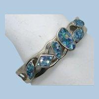VINTAGE Pretty Large Sterling Man-made Opal Bracelet