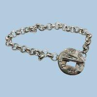 VINTAGE  Sterling  'Be Brave Love Life' Bracelet  7 1/4 Inch