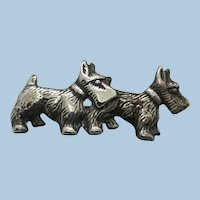 VINTAGE  Two Scottish Terriers Sterling Brooch  Cute