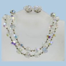VINTAGE  Two Strand Lisner Aurora Borealis  Crystal  14 Inch Choker with 3 1/2 Extender