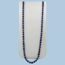 VINTAGE Designer Natetan Jewelry 36 Inch String of Blue Beads