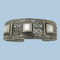 STERLING Pretty Bracelet with Mother of Pearl Decoration Wide