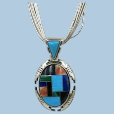 Carolyn Pollack Relios Sterling  9 Strands  Liquid Silver and Pendant