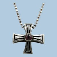 VINTAGE  Sterling  Maltese Cross with Garnet Cabochon  3/4 Inch   25 Inch Sterling Chain